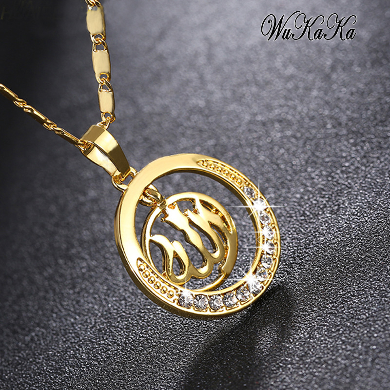 Wukaka Crystal Islam Religion Middle Eastern Muslim Pendant Necklace Women Gold/Silver color Necklaces Man Jewelry Accessories