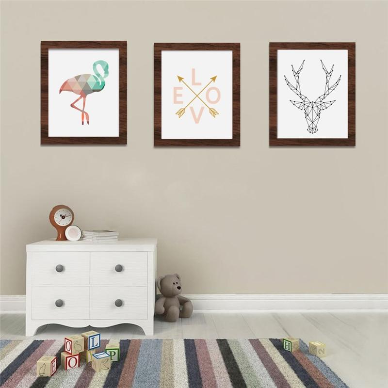 Haochu animales geométricos nórdicos flamencos ciervos lienzo ...