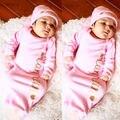 Moda Rosa Das Meninas Do Bebê Recém-nascido Sacos de Dormir Sleepsack Swaddle Envoltório Macio Bonito Macacão Outfit Set Cobertor Panos 2016