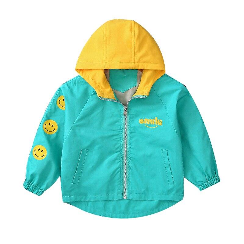 Новое поступление Улыбка Куртка для мальчиков с длинным рукавом с капюшоном пальто на весну-осень модные Повседневное верхняя одежда ветро...