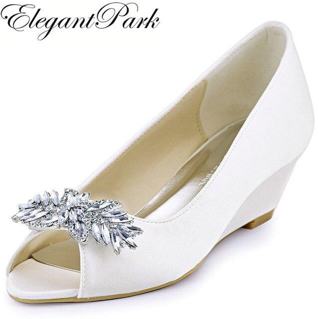 WP1564 Women Wedges Wedding Bridal Shoes Peep Toe Mid Heels Rhinestones  Satin Prom Dress Pumps White Ivory ea638cffa10f