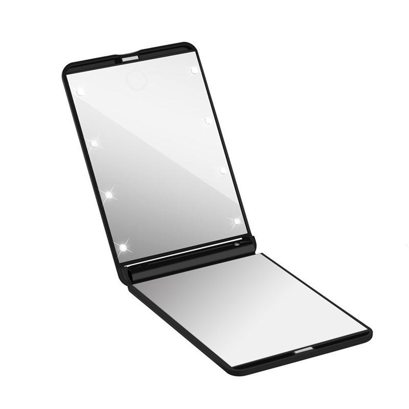 plegable led iluminado espejo de maquillaje compacto portable led luces plegables espejos cosmticos diaria