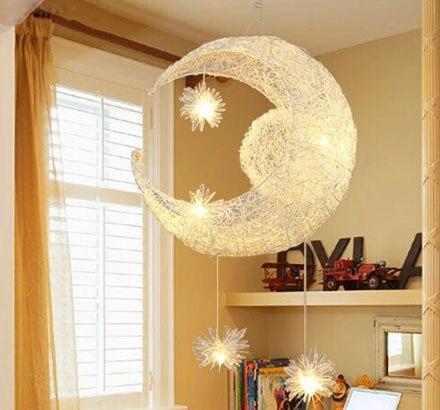 ZYY Creative Nest Aluminum Chandelier Lamp Bar Bedroom Balcony Moon and Stars Decorative Lighting Children's room lights худи print bar moon and trees