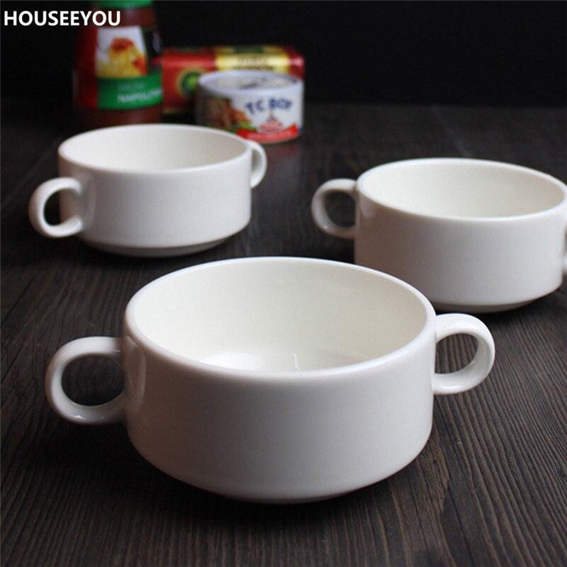 Top Grade Pure White Ceramic Bowls Porcelain Doule Ear