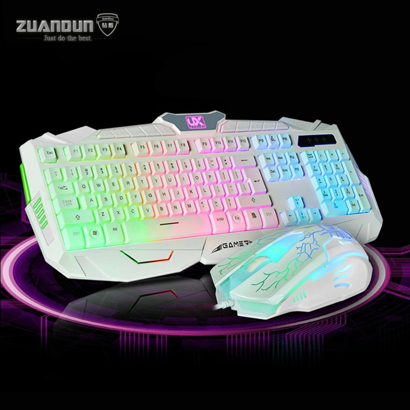 7 Color Breathing Lights USB Wired Gaming Mouse Keyboard Combos 1600 DPI 6 Button Backlit Mouse Pro Gamer Keyboard Mice for LOL
