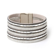 ORNAPEADIA Summer New Hot Sell Multilayer Leather Bohemia Bracelets Luxury CZ Chain PU Bangles for women gift wholesale