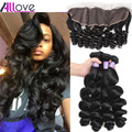 8A Brazilian Loose Wave With Frontal Closure Human Hair 3 Bundles Brazilian Virgin Hair With 13x4 Ear To Ear Full Lace Frontal
