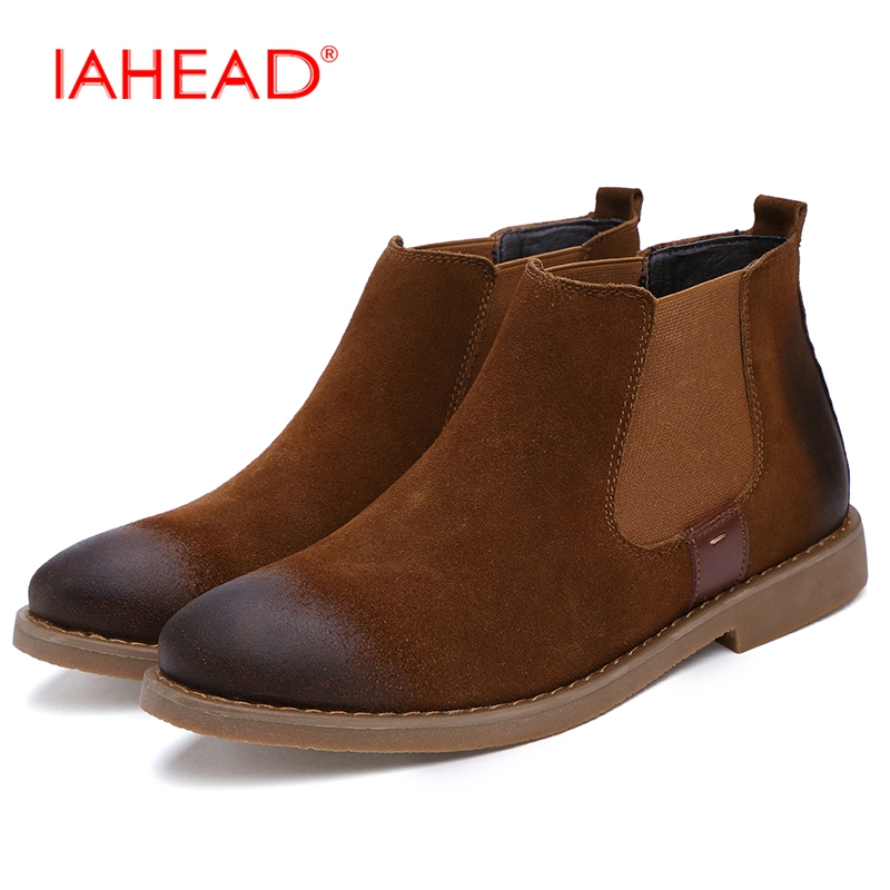 IAHEAD Men Chelsea Boots Winter Fluff  Warm Casual Shoes Men New Design Fashion Flats Soft Slip-On Boots Work Boots MH562 iahead men boots genuine leather flats new casual shoes lace up warm winter boots men plus size 38 48 rain shoes men mh586