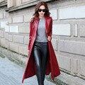 2016 загружалась новая кожа кожа пальто женщин pu кожа взрыв модели тонких женщин Тонкий длинное пальто