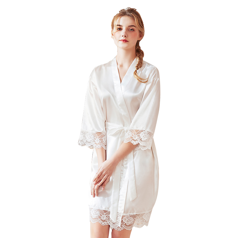 Daeyard Silk Satin Short Robe Solid Robe Kimono Sexy Lace Trim Bathrobe Sleepwear Bride Bridesmaid Robe Fashion Dressing Gown