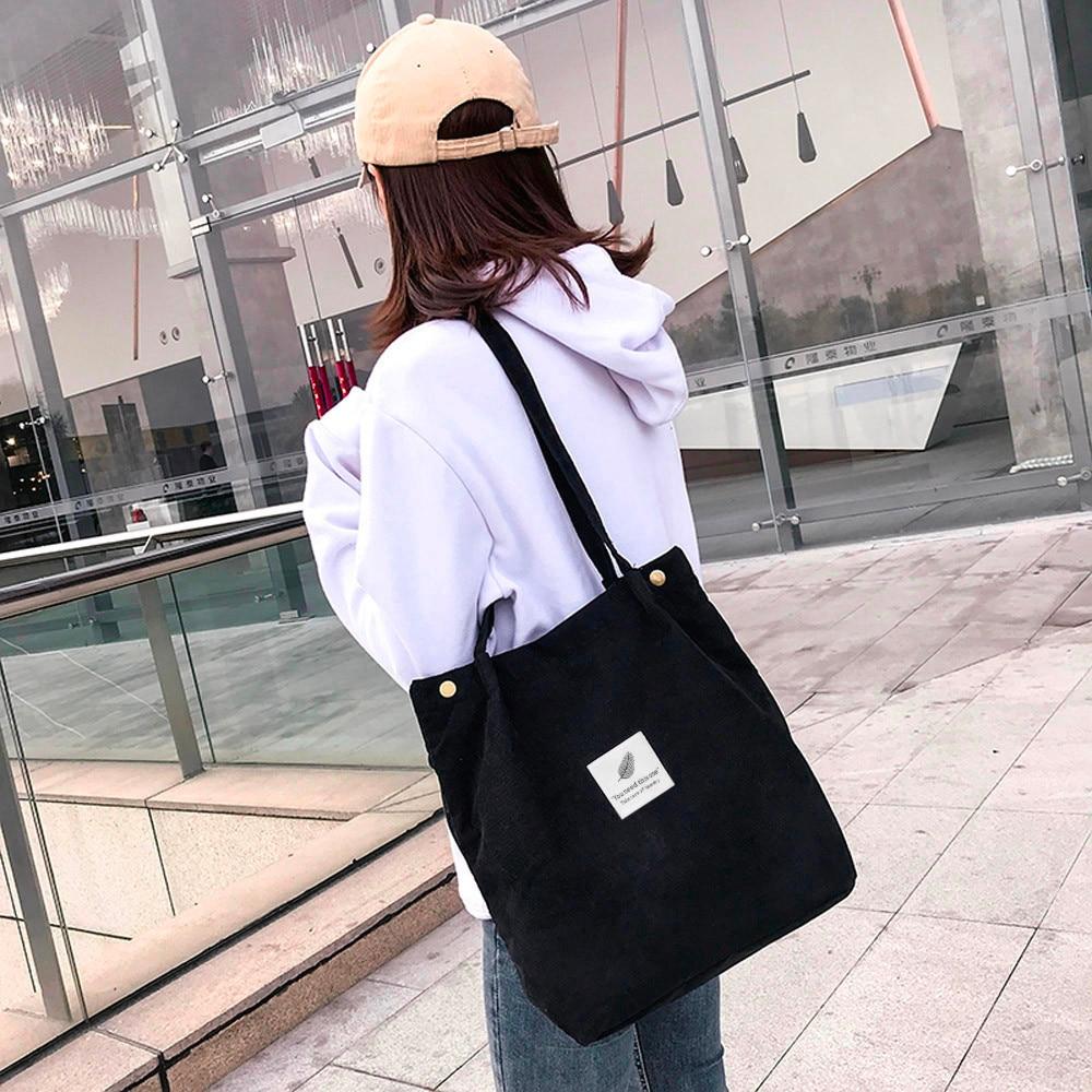 Travel-Shoulder-Bag Beach-Bag Corduroy Tote Large-Capacity Solid-Color Casual Women Ladies