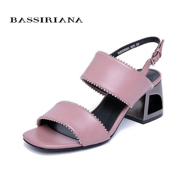 BASSIRIANA 2019 new classic genuino scarpe di cuoio sandali della donna di Estate hoof Tacchi alti cinghia posteriore fibbia nero rosa 35- 41 dimensioni