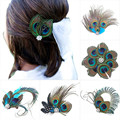 Women Headwear Colorful Peacock Feather Crystal Hair Hairpin Clip Hot