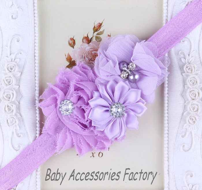 (2ชิ้น/ล็อต)เด็กHeadbandsโทรมชีฟองดอกไม้Rhinestoneอุปกรณ์ผมคริสต์มาสผมวงสาวH Eadwear 14สี