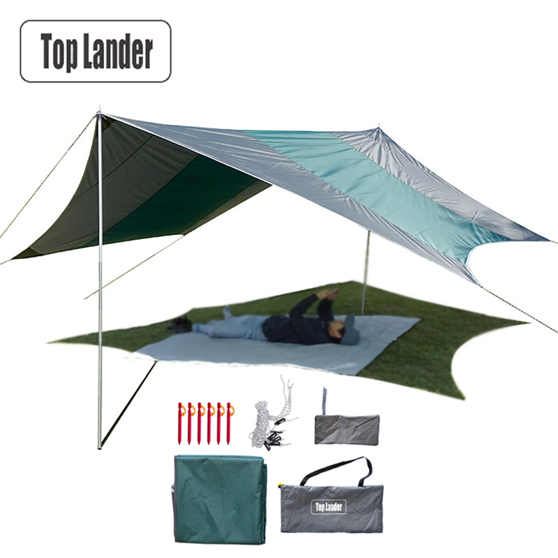 Ultralight Camping Tent Tarps Waterproof Super Large Hammock Rain Fly Portable Awning Canopy Beach Shade With Pegs Ropes