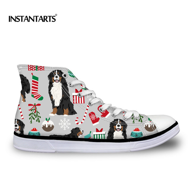 INSTANTARTS Children Sneakers Cute Bernese Mountain Dog High Top Canvas Shoes For Girls Boys Kids Outdoor Sports Shoes Walking
