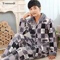 Новый Роскошный Мужчины Пижамы Зимой Утолщение Фланель Мужчины Пижамы Теплый Пижамы Lounge Pajama Наборы 4XL Мужские Пижамы