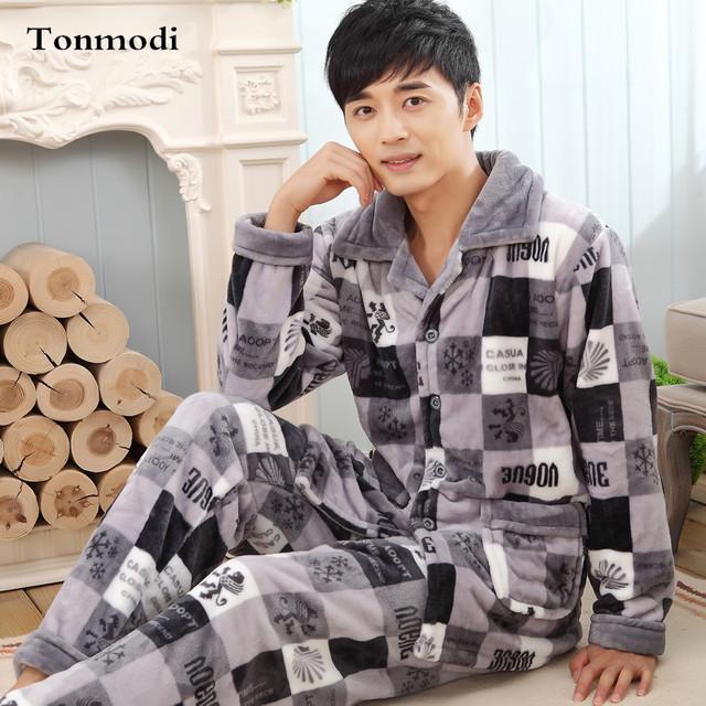 Los nuevos Hombres de Lujo Pijamas Engrosamiento de Invierno de Franela Hombres Conjuntos Salón Pijama Pijama de Dormir Caliente 4XL Hombres Pijamas