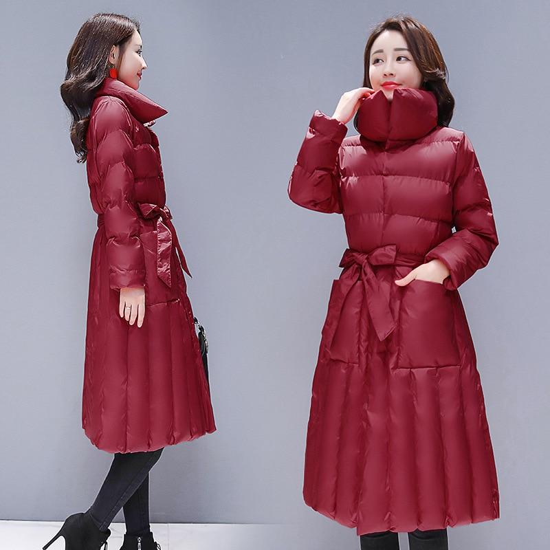 Tempérament Black Red Haut Le Gamme wine Hiver Coton Chaud Stand Longue Dq415 Ceinture Mince Genou Manteau Épais Veste Nouvelles De Femmes pink Sur Externe Col 2018 FnqAB4wA
