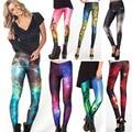 Mujeres colorful universo leggings galaxy espacio de impresión leggings pantalones elasticidad moda capris de secado rápido
