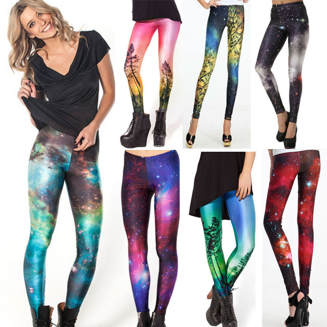 Mulheres Coloridas Leggings Galaxy Espaço Universo Pintado Calças Elasticidade Moda Capris de Secagem Rápida do navio da gota