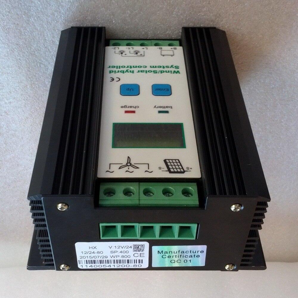 Controlador de carga Solar híbrido de viento 12 V 24 V para 800 W 600 W 400 W generador de turbina de viento y 400 W 300 W 150 W controlador de panel solar