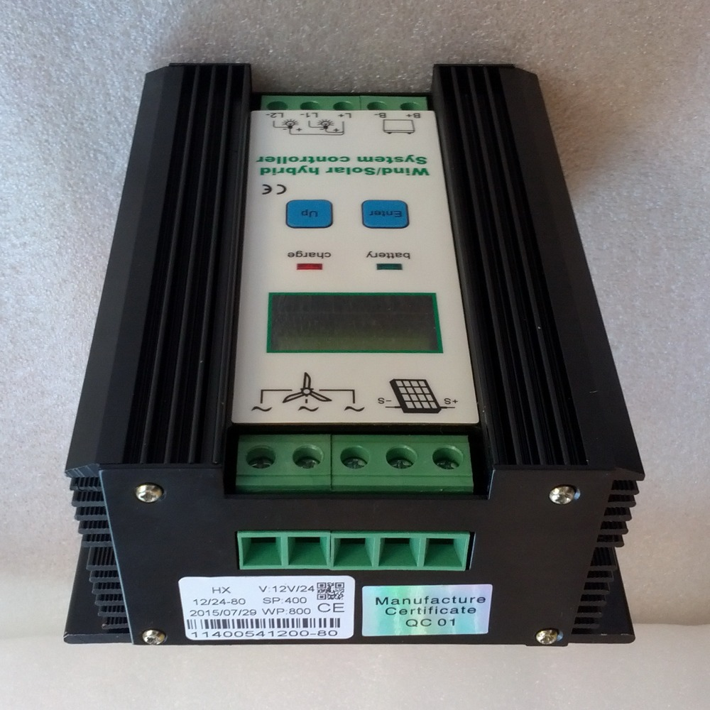 Wind Solar Hybrid Charge Controller 12V 24V for 800W 600W 400W wind turbine generator & 400W 300W 150W solar panel controller wind power generator 400w for land and marine 12v 24v wind turbine wind controller 600w off grid pure sine wave inverter