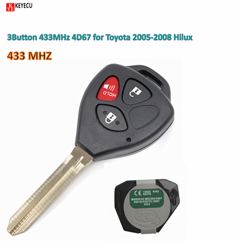 Keyecu Original Remote Key 3Button 433MHz 4D67 for Toyota 2005 2008 Hilux 4Runner 2003 2009 Hilux
