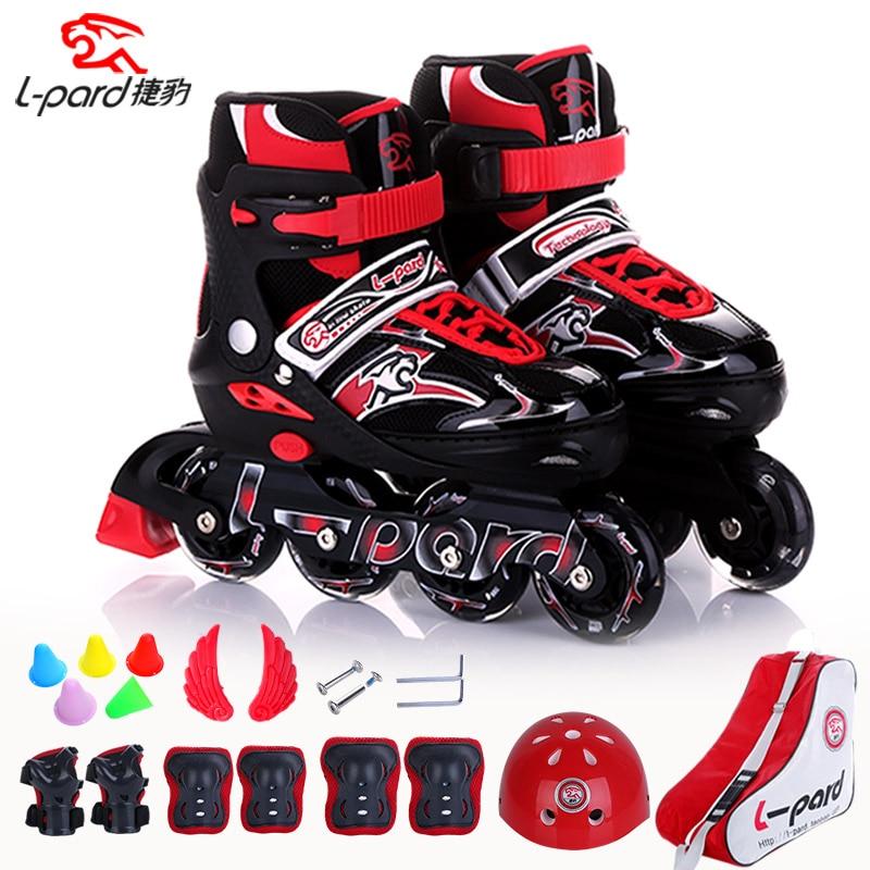 Adjustable Inline Roller Skate Kids Shoes With PU Wheels Safe Sets And Portable Bag