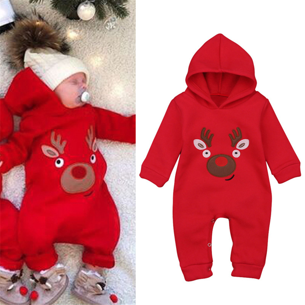 Cosplay Christmas winter red elk elf hooded plus velvet baby jumpsuit crawling suit Jumpsuits for kids boys girls Christmas cost