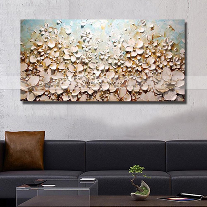 Free Shipping Handmade Texture Large Abstract Oil Painting Modern Canvas Art Decorative Knife Flower Paintings For Wall Decor