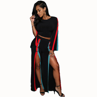 Sexy Long Sleeve Metal Buttons Crop Top Red Black Striped Slim Pants Two Piece Set Women