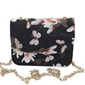 Floral Print Women Leather Handbags Long Strap Ladies Handbags Bling Chain Women Messenger Bags Mini Shoulder Bags S-20