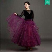 Новые стили бальных танцев костюмы марлевые с длинными рукавами топ + длинная юбка 2 шт. бальных танцев комплект для Womenn бальных танцев костю