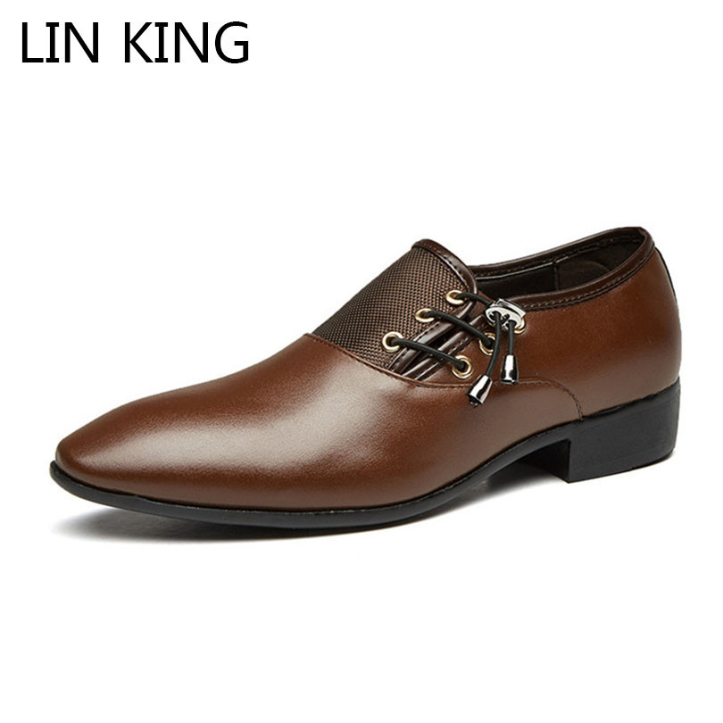 LIN KING New Plus Size 48 Men Formal Shoe Flats Oxford Shoes For Male Pointed Toe Lace Up Leather Office Business Dress Shoes plus size 37 44 men leather dress shoes pointed toe business formal men office shoes lace up black brown oxford shoes yj b0018
