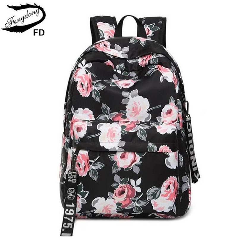 FengDong women black vintage flower backpack floral print school bags for girls bagpack back bag female travel laptop backpack fengdong brand female laptop backpack women travel bags high school backpack for girls black and white waterproof chest bag set