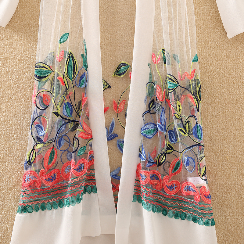 HTB1F5cZrYGYBuNjy0Foq6AiBFXab New Women Floral Embroidered Long Jacket Summer Net Cardigan Casual Long Sleeved Thin Coats Ladies Vintage Beach White Outerwear