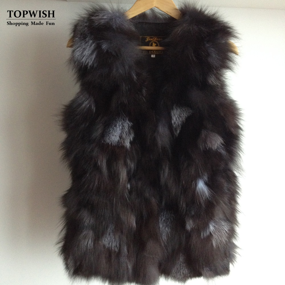 Low Low Low Free Shipping Genuine Fox Fur Vest Women's Long Fox Fur Vest OEM/Retail/Wholesale Custom Big Size THP397