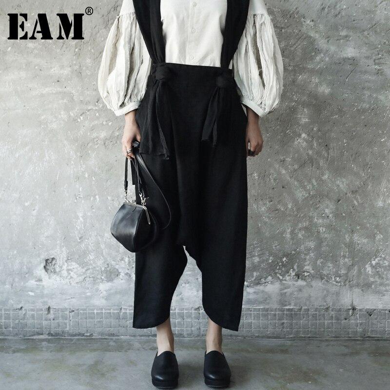 [EAM] 2018 Новый Осень Зима Темперамент без бретелек двумя карманами Широкие штаны Для женщин брюки моды прилив универсальные JE82201S