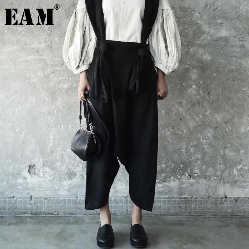 [EAM] 2018 New Autumn Summer Temperament Strapless Two Pocket Wide Leg Pants Women Trousers Fashion Tide All-match JE82201S inc new solid deep black women s size 2 tapered leg two pocket pull on pants $69