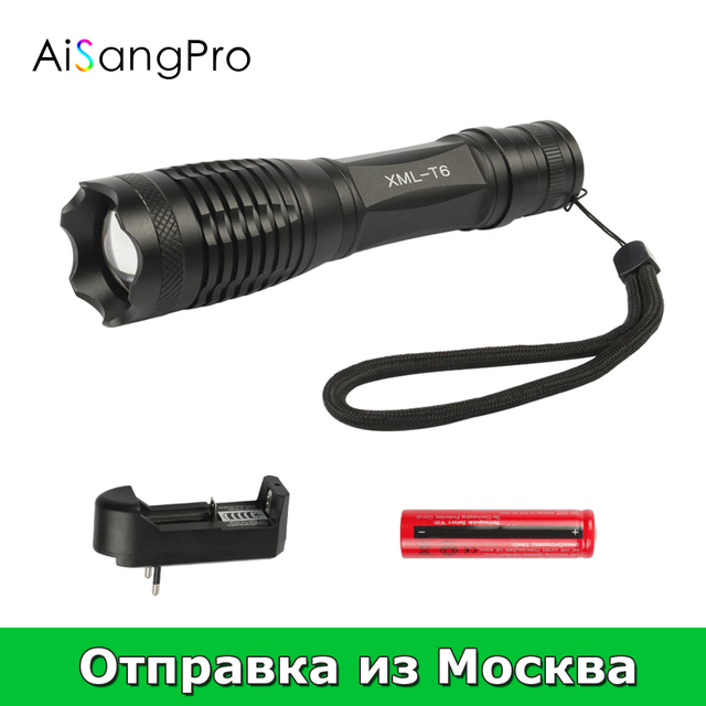 Aisangpro фонарик T6 Водонепроницаемый Масштабируемые CREE Светодиодные фонарики тактический самообороны Light 18650 Перезаряжаемые Батарея кемпинг