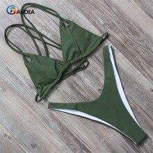 BANDEA женщины бикини установить лето 2017 твердые купальник короткий топ купальники бикини бразильские купальники купальный костюм HA011