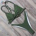 Conjunto das mulheres de biquíni verão 2017 sólidos swimsuit halter top bandea preenchimento swimwear biquíni brasileiro swimwear maiô ha011