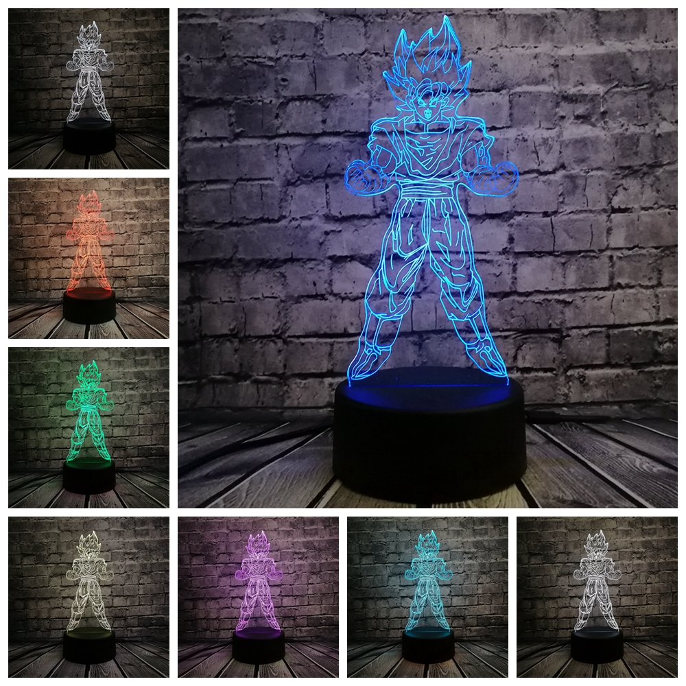 7 Dragon Ball Super Son Goku Kakarotto 3D Table Lamp Luminaria LED Night Light Creative Child Kid Sleep Lamp Holiday Xmas Gift marvel s the avengers super hero creative 3d hulk night light acrylic 7 colorful gradient led lamp desk table light boy kid gift