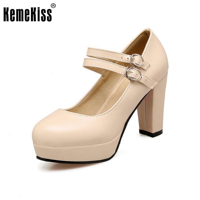 New Fashion Women Thick Heel Shoes Woman Round Toe Platform High Heel Pumps Woman Buckle Wrap OL Heels Shoes Footwear Size 34-43