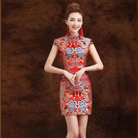 Traditional Chinese Dress Qipao Red Modern Cheongsam Mini Dress China Dragon Costume oriental Qi Pao Vintage Wedding Gown QL