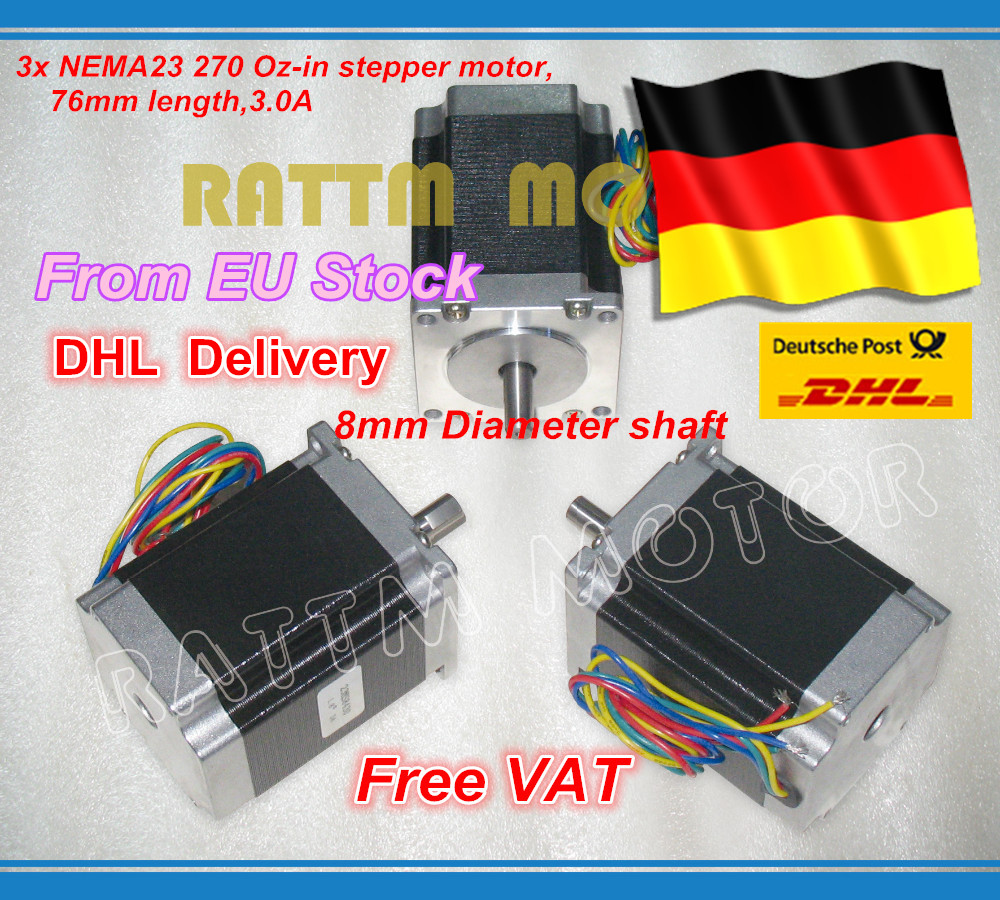 DE ship/free VAT 3PCS NEMA23 76mm/270 Oz-in/ 3A 1.8Nm CNC stepper motor stepping motor CNC machnine 3D printer free ship 3pcs dual shaft nema 23 stepper motor 1 89n m 268oz in 76mm 3a direct selling