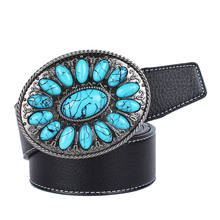Western Leather Belt Bohemian Cowboy Cowgirl Buckle Vintage Style Mens Accessories for Fashion Jeans
