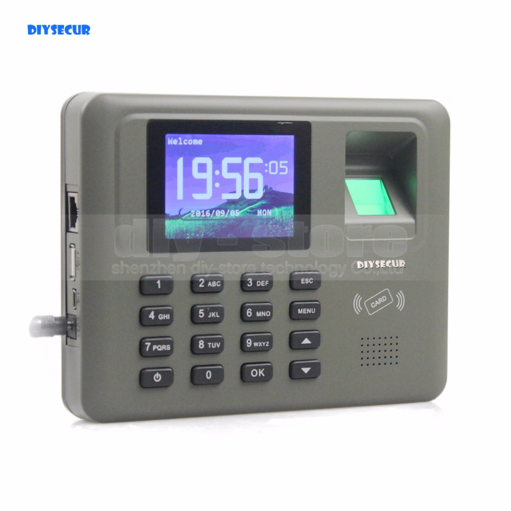 DIYSECUR 2.8inch LCD Biometric Fingerprint Time Clock Attendance Digital Electronic Reader Machine Clock Employee Payroll