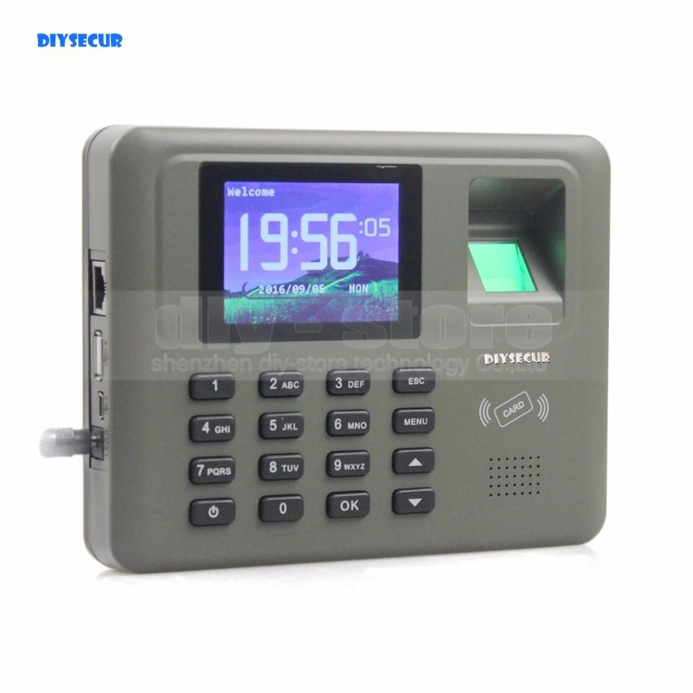 DIYSECUR 2.8inch LCD Biometric Fingerprint Time Clock Attendance Digital Electronic Reader Machine Clock Employee Payroll